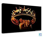 Golden Crown Holding By A Hand Digital Art Canvas Wall Art Picture Print