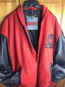 Ruger Firearms Letterman Style Leather Jacket Black Red Size L Excelled Menand039s