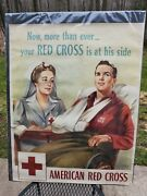 Vintage Original 1943 Ww Ii American Red Cross Poster Nurse With Wounded Solider