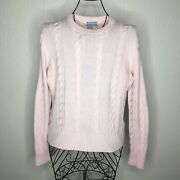 Saks Fifth Avenue Folio Collection Pink Cable Cashmere Sweater Size Large 183