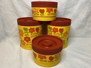 Vintage 70's Alladinware 4 Piece Stackable Plastic Canister Set Floral Yellow