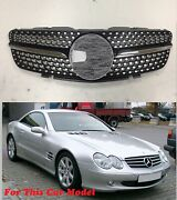 Front Grille Chrome Diamond Black Fan For And03902-and03906 Mercedes Benz R230 Sl-class