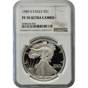 1989-s Proof American Silver Eagle One Dollar Coin Ngc Pf70 Ultra Cameo