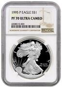 1995-p Proof American Silver Eagle One Dollar Coin Ngc Pf70 Ultra Cameo