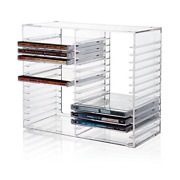 Stackable Clear Plastic Cd Holder Holds 30 Standard Cd Jewel Cases Computer Game