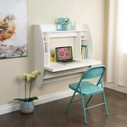 Wall Mounted Floating Office Computer Desk Storage Shelf Home Furniture White