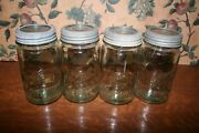 4-vintage Blue Tint Ball Special Qt Wide Mouth Jars-ball Glass Insert Zinc Ring