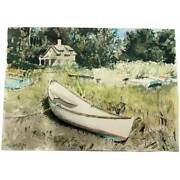 Cape Cod Artist Thomas Blagdon Higham Painting House Boat Signed And Dated 2001
