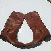 Collection Brown Leather Unisex Riding Boots Italy Size 11b, Mint