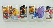 1977 Mcdonalds Collector Glasses Action Series Lot Of 6 Ronald Grimace + 14142