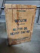 Vintage Old Miquon Mobil Sae-50 Wood Crate 2 5 Gallon Oil Can Box Sign Motor Ca