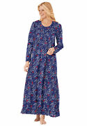 Dreams And Co. Women's Plus Size Long Sleeve Gown Nightgown