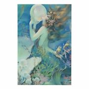 Vintage Mermaid With Pearl Art Print On Framed Canvas- Various Sizes