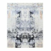 8and039x10and039 Gray And Black Modern Wool And Silk Hand Knotted Oriental Rug R62402