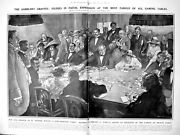 Antique Old Print Riviera Gamblers Roulette Casino Monte Carlo France 1922 20th
