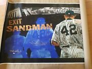 Mariano Rivera Sandman Signed Giclee On Canvas 25 X 44 Inches New