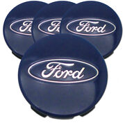Blue Center Caps With Ford Logo W/5clips For 2015-2017 Ford F-150 3 [set Of 4]