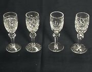4 Pc Waterford Cut Crystal Cordials, 4-5/8, Different Patterns, Mint.