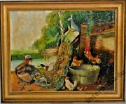 Antique Original Picture Oil On Canvas Singed H. Umschlag 1923 Bird Yard Germany