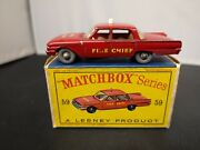 P843-matchbox Lesney No59b Ford Fairlane Fire Chief Car With 'd' Type Box.