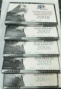 2004-2008 S Proof State Quarter Silver 5 Coin Statehood 5 Sets Box And Coa K793