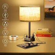 Table Lamp With Alarm Clock Touch Control Desk Lamp W/2 Usb Portsand 2 Ac Outlets