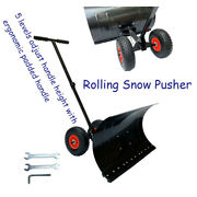 Snow Shovel With 2 Wheels Rolling Snow Pusher Adjust Handle Height