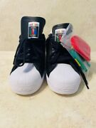 Adidas Superstar Mens Fw5387 Black White Shell Toe Shoes Size 8 Lgbt Pride