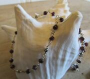 Silpada India Garnet Stone Bead Link Sterling Silver 925 16-18 Necklace