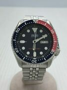 Secondhand Seiko Divers 7s26-0020 Automatic Watch Analog Stainless Steel Navy