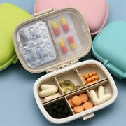 Container Box 8 Grids Organizer Tablets Travel Pill Wheat Straw For Medicines