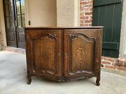 Vintage French Carved Tiger Oak Sideboard Cabinet Buffet Louis Xv Style 20th C