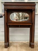 Antique 1890's Carved Oak Fireplace Mantel W/ Oval Beveled Glass Mirror - Mantle