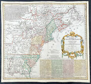 1756 Homann Antique Map Colonial United States North America French Indian War