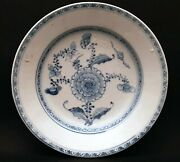 Chinese Antique Blue White Shipwreck Andlsquopeonyandrsquo Dish Plate Tek Sing Qing A Chine