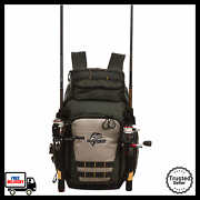 Tackle Backpack Fishing Bag With Utility Boxes Side Tool Dual Rod Holders Green