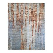 8and0391x10and0391 Red Abstract Design Denser Weave Wool And Silk Hand Knotted Rug R66571
