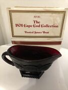 Vintage New Avon Ruby Red Cape Cod Footed Gravy Sauce Boat With Box