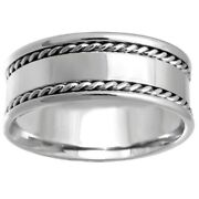 14k White Gold Flat Design Rope Edges Comfort Fit Menand039s