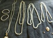 Pearl Women's Costume Jewelry Lot Pearls, Necklaces, Bracelets And Earrings