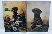 Vintage Lynn R. Kaatz Lot Of 2 - Hunting Puppy Dogs And Duck Decoy Tin Metal Sign