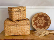Set Of 2 Vintage Hand Woven Sea Grass Storage Boxes With Lid | Straw Basket
