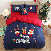 3/4/6 Pcs Sizes Queen King Red Blue Christmas New Year Bedding Sets Duvet Covers