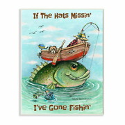And039hats Missing Gone Fishing Funny Sports Cartoonand039 By Gary Patterson - Graphic Art