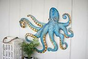 A5650 Hand Hammered Recycled Metal Octopus Wall Hanging, One Size,