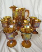 Indiana Carnival Glass Iridescent Amber Pitcher Ice Lip 8 Goblets Grapes Harvest