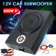 600w Car Subwoofer Slim Under-seat Power Supper Bass Amplifier Sub Box Cable ┨