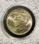 1924 Peace Silver Dollar Bu Toned 1 Coin In Air Tite Capsule Nice Patina