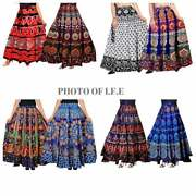 10 Pc Lot Indian Cotton Vintage Fabric Magic Wrap Around Frill Skirts Printed