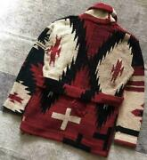 Polo By Fringe Knit Gown Cardigan S Native Pattern Cross Eagle Rare